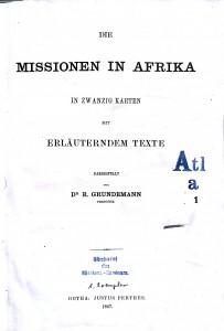 Titelbatt der ersten Abteilung (Afrika) des Allgemeinen Missionsatlas (1867)
